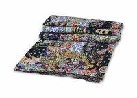 Black Color Background Floral Print Kantha Quilt