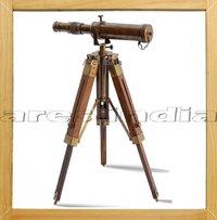 Antique Vintage Style Brass Telescope W Wooden Tripod