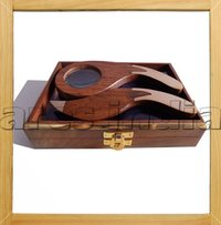 Wooden Magnifier W Letter Opener And Box Gift