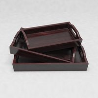 Solid Wood Creative Serving Tray Set Of 3 Trays With Handles - Mahogany Finish