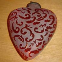 Heart Zig Zag Frosted Christmas Ornaments