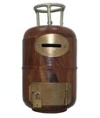 Wooden Cylinder Shaped Money Bank
