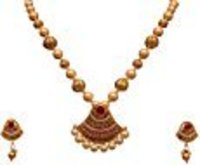 White Pearl Golden Pendant Necklace And Earrings Set