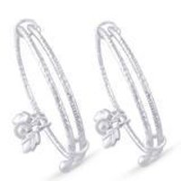 Sterling Silver Bell With Leaf Charm Bangle For Kids