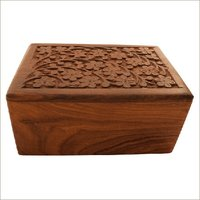Decorative Carved Wood Urn Box