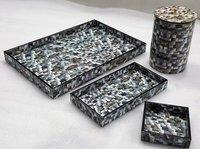 Wood Resin Printed Tray And Box