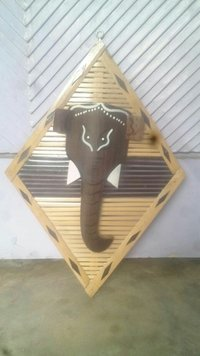 Bamboo Wall Hanging Triangle Elephant Head