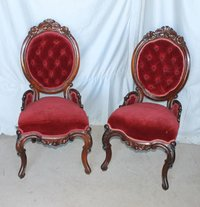 Victorian Rosewood Match Pair Parlor Chairs Red Upholstery