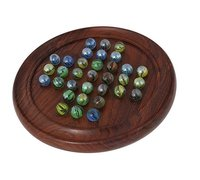 Wooden Solitaire Puzzles Game With Marbles