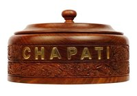 Wooden Chapati Box With Stainless Steel