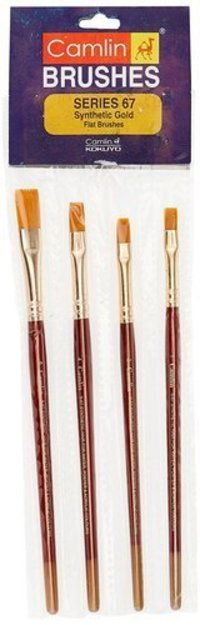 Camel Paint Brush Series 67 Flat Synthetic Gold Set Of 4