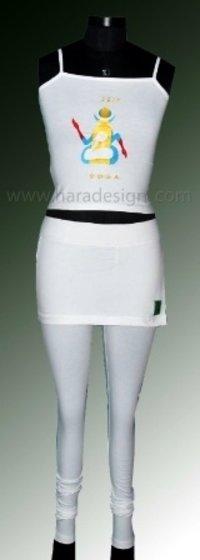 White Skirt Leggings And Sleeveless Embroidered Top