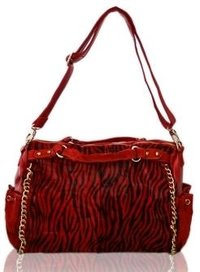 Red Suede And Skin Finish Handbag