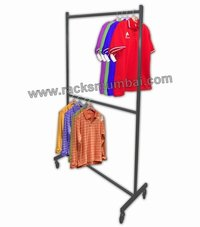 Hanging Rolling Rack Double Level For Garments