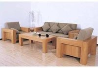 Plain Solid Wooden Sofa Set