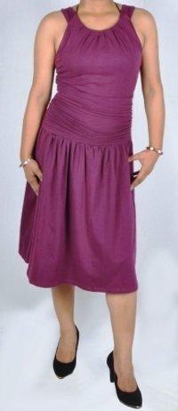 Purple Formal Design Gather Tunic Dress