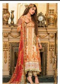 Pakistani Lawn And Chiffon Ladies Dress