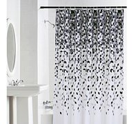 100% Water Proof High Quality Textile Shower Curtain With 12 Plastic Hooks - Multicolor
