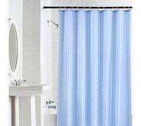 100% Water Proof High Quality Textile Shower Curtain With 12 Plastic Hooks - Sky Blue