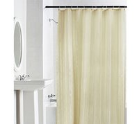 100% Water Proof High Quality Textile Shower Curtain With 12 Plastic Hooks - Yellow