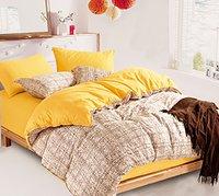 Plain & Stripe Design Double Bedsheet Fs_3398