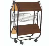 Foldable Kitchen Trolley Walnut Colour