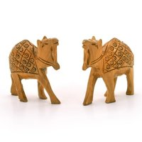 Little India Hand Carved Wooden Camel Pair