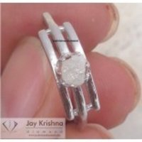 0.70 Ct Natural Single Ice White Uncut Rough Diamond Sterling Silver Ring