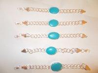 Imitation Stone Curb Link German Silver Bracelets