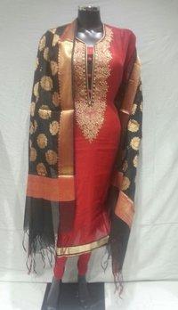 Party Wear Chanderi Suit With Banarasi Dupatta