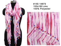 Polyester Printed Long Stoles With Tassel