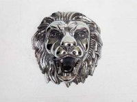 Lion Head Sml Silver Metal Statue