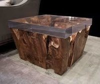Designer Glass Top Natural Wood Coffee Table