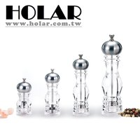 Crystal Clear Body Acrylic Pepper Grinder With Chrome Plated Top