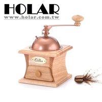 Natural Wood Color Manual Burr Coffee Grinder