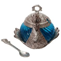 Stylish Duck Shape Turquoise Glass Single Serving Bowl With Lid
