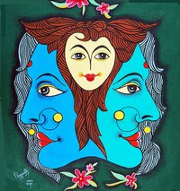 Three Faces Of Smiling Painting