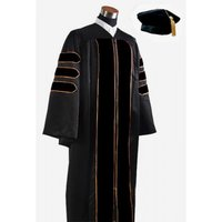 Doctoral Graduation Gown With Velvet Banding And Hat