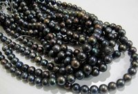 Natural Black Pearl Round Beads
