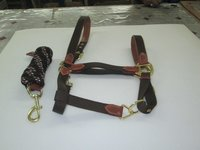 Pp & Leather Horse Halter With Lead