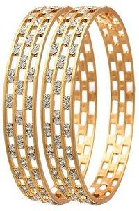Ethnic Three Liner Austrian Diamond One Gram Gold Plated Bangle Set Kada For Women And Girls
