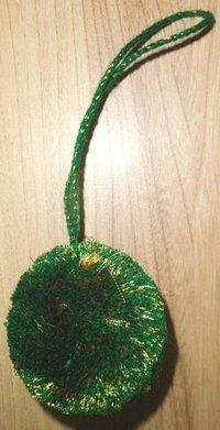 Green Acrylic And Gold Zari Pom Pom Tassels