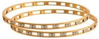 Traditional Ethnic Fusion One Gram Gold Plated White Austrian Diamond Designer Bangle For Women & Girls