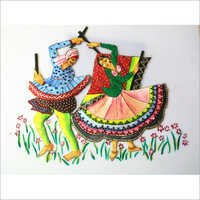 Dandiya Playing Couple Oil Painting