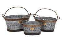 Galvanized Iron Baskets (Set Of 3)