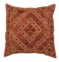 Embroidered Mirror Work Cushion Cover