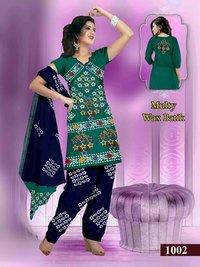 Multi Wax Batik Cotton Ladies Salwar Suit