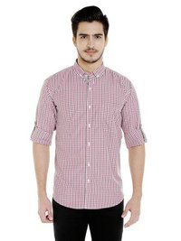Mens Casual Checks Shirt Red