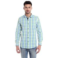 Mens Casual Shirt Cotton Blend Yellow Checks