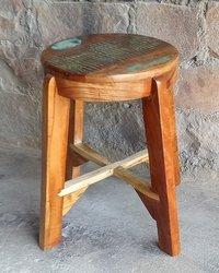 Reclaimed Wood Industrial Wooden Stool
